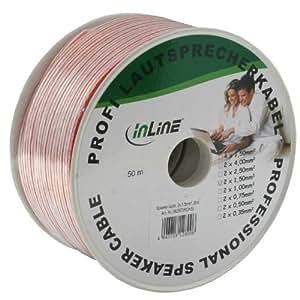 InLine® Lautsprecherkabel, 2x 1,5mm², CCA, transparent, 50m