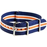 20mm Nato Ss Nylon Striped Navy Blue / Orange / White Interchangeable Replacement Watch Strap Band