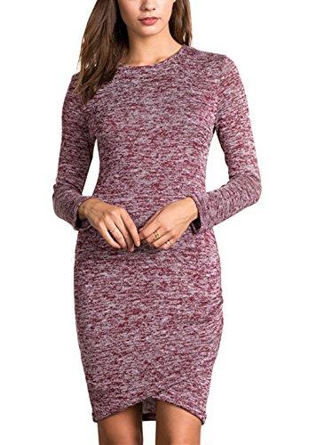 Sheinside Women's Double Layer Pullover Bodycon Dress (XS, Purple)
