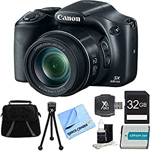 Beach Camera PowerShot SX530 HS 16MP 50x Opt Zoom Full HD Digital Camera Bundle with 32GB Memory card, 1150mah Battery Pack and Acccessories, Black (8 Items)