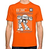 Society6 Men's Ed-209 Service And Repair Manual T-Shirt Large Orange