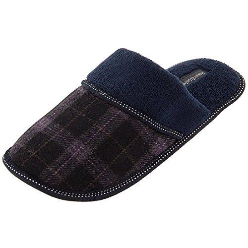 perry-ellis-portfolio-mens-8-13-navy-plaid-slip-on-slippers-xl-11-12