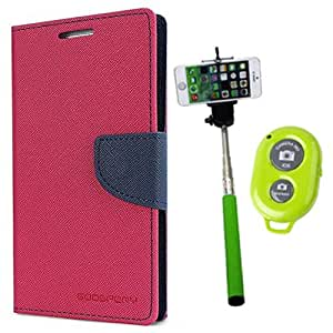 Aart Fancy Diary Card Wallet Flip Case Back Cover For HTC820 - (Pink) + Remote Aux Wired Fashionable Selfie Stick Compatible for all Mobiles Phones By Aart Store