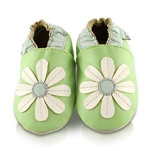 Snuggle Feet - Suaves Zapatos De Cuero Del Bebé Margarita Verde