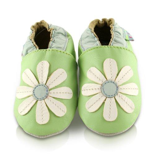 snuggle-feet-chaussons-bebe-en-cuir-doux-verte-avec-paquerette-cousue-18-24-mois