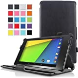 MoKo Google New Nexus 7 FHD 2nd Gen Case - Genuine Leather Slim-Fit Multi-angle Stand Cover Case for Google Nexus 2 7.0 Inch 2013 Generation Android Tablet, BLACK