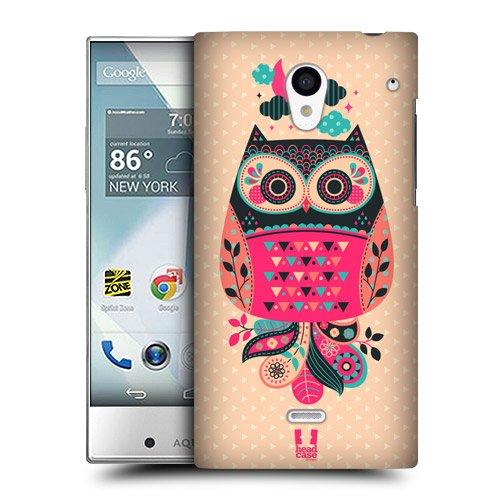 Head Case Designs ブラック&コーラル ナイトフォール・フクロウ スナップオン ハードケース Sharp Aquos Crystal 305SH LTE 306SH LTE