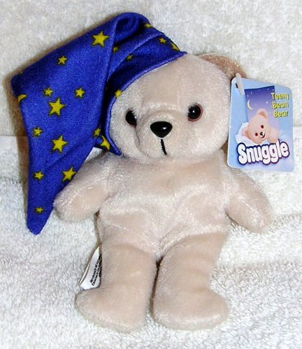 "2001 Snuggle Bear 5"" Plush Teeny Bean Bear with Nightcap - 1"