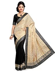 Black And Beige Faux Chiffon And Art Silk Jacquard Saree With Blouse