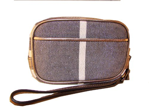 Authentic Burberry Grey Checked Wallet Wristlet Handbag