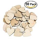 VORCOOL 50 Stück Blank aus Holz Herzen Verzierungen für DIY