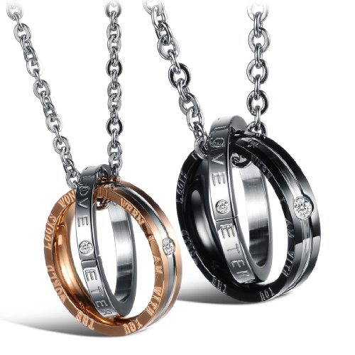 Dixivi Jewelry a Pair Valentine Couple Matching Interlocking Double Rings Engraved Promise Necklace Sets