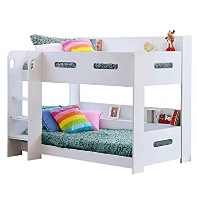 White Kids Bunk Bed - Ladder Can Be Fitted Either Side!+ Storage Shelves