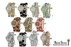 Wholesale Lot of 6 ASST. Large Cross Wrap Around Leather Watches - 9537