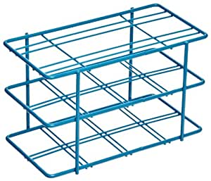 "Bel-Art Scienceware 187940000 Blue Epoxy-Coated Steel Poxygrid 50mL Centrifuge Tube Rack, 5-7/8"" Length x 3-3/16"" Width x 3-1/2"" Height, 8 Places"