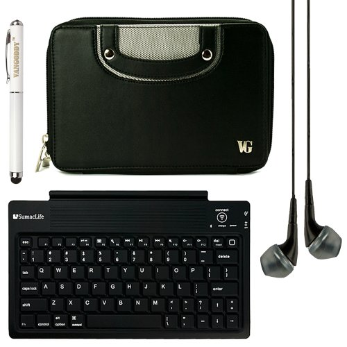 "Executive Faux Leather Horizontal Case W/ Handle For Hp Mesquite 7"" Tablet + Sumaclife Bluetooth Keyboard + Vg Laser Pen & Laser + Black Vangoddy Headphones (Black)"