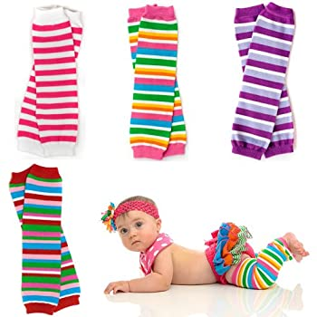Baby Leg warmers come in super fun colors of pink and purple. Suitable for babies 15 plus pounds up to age 6. 4 pairs per order.