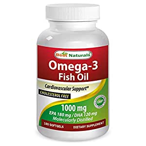 Buy best naturals omega 3 fish oil 1000 mg 180 softgels for Omega 3 fish oil amazon