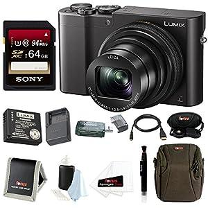 Panasonic Lumix DMC-ZS100 Digital Camera (Black) + Panasonic ZS60 & ZS100 Travel Bundle + Sony 64GB Memory Card + Accessory Bundle