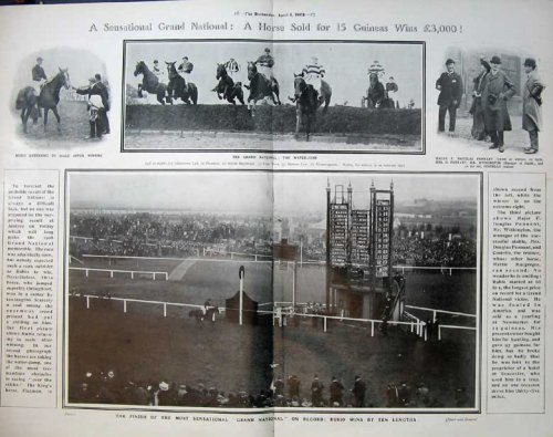 1908 Horse Racing Sport Grand National Water Jump Rubio