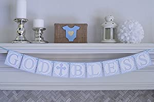 Blue God Bless Baptism Christening First Holy Communion Banner by Swanky Party Box