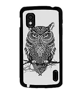 Fuson Premium Grey Owl Metal Printed with Hard Plastic Back Case Cover for LG Google Nexus 4 E960