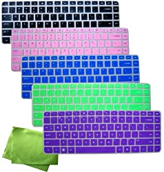 ColorYourLife 5-Pack Ultra Thin Translucent HP Laptop CQ43/HP G4 DV4 series Soft Silicone Gel Keyboard Protector Skin Cover US Layout for Compatible Models Listed in the Description- Please DOUBLE CHECK Your Model