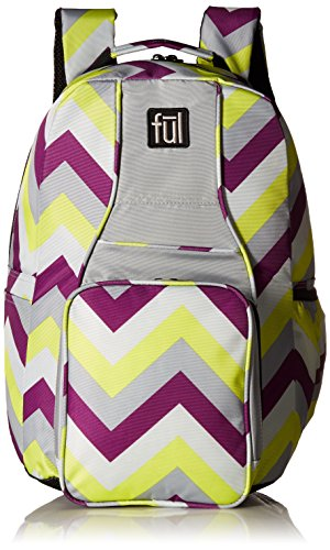FUL Cheveron Backpack-lime green and purple