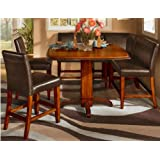 6 Pc Counter Height Two tone Finish Square Pedestal Dining Set
