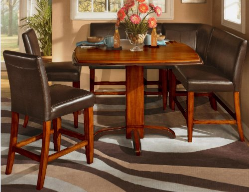 6 Pc Counter Height Two-tone Finish Square Pedestal Dining Set