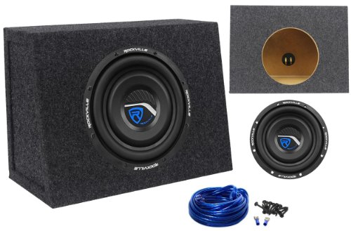 "Package:Rockville W8T3-S4 8"" 400W Peak/200W Rms Cea-2006 Compliant 4-Ohm Shallow Mount Car Subwoofer + Rockville Rsst8 Single 8"" 0.44Cu.Ft. 3/4"" Mdf Sealed Sub Enclosure Box + Single Enclosure Wire Kit With 14 Gauge Speaker Wire + Screws + Spade Terminals"