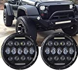 Turbo SII Pair 7 Inch Round Black Led Headlights With DRL Hi/lo Beam For Jeep Wrangler Jk Tj Harley Davidson MACK R Peterbilt Kenworth Freightliner