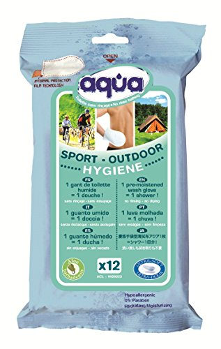 Cleanis Pre-Moistened No Rinse Aqua Outdoor Wash Gloves, 12 Count