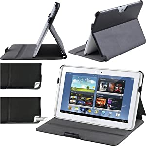 i-Blason Folio Stand case Cover for Samsung Galaxy Note 10.1 Inch Tablet N8000 N8010 16GB 32GB 3G 4G Wifi Version AT&T Android 4.0 with Built-in Stand ( Black)