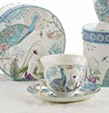 Porcelain Tea Cup and Saucer in Gift Box - Peacock
