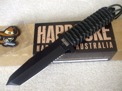 Hardcore Hardware Australia Bfk01 Big Dog Survival Knife Od Para-Cord Handle Black Sheath