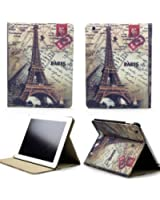 "NetsPower® Retro Eiffel Tower Housse Multi Angle Stand Cuir Coque Etui pour Apple iPad Mini 7.9"" Smart Cover Station + Stylet Stylo + Film de protection écran"