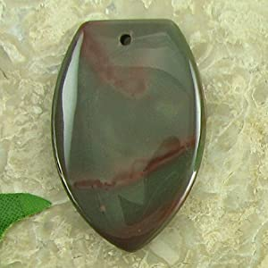 45mm green jasper flat teardrop pendant bead