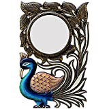 Divraya Wood Peacock Wall Mirror (30.48 Cm X 4 Cm X 45.72 Cm, DA127)