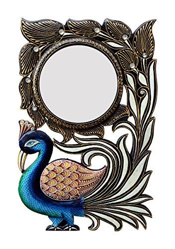 Divraya Wood Peacock Wall Mirror (30.48 Cm X 4 Cm X 45.72 Cm, DA127)