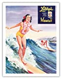 Libby's Pineapple Hawaii - Hawaiian Surfer Girl - Vintage Canned Pineapple Juice Advertisement by Lafferty c.1957 - Hawaiian Fine Art Print - 20in x 26in