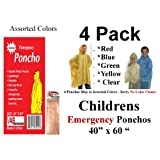 "4 VAS Childrens 40"" X 60"" Emergency Child / Kid Rain Poncho - Assorted Colors"