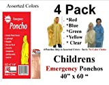 4 VAS Childrens 40 X 60 Emergency Child / Kid Rain Poncho - Assorted Colors