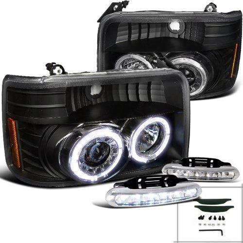 Euro Black F150 F250 F350 Dual Halo Projector Headlights+Drl Led Fog Lamps