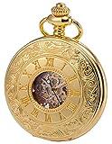 KS Golden Mechanische Taschenuhr Handaufzug Skelett Zifferblatt mit Kette und