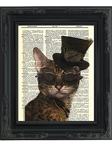 Dictionary Art Print - Steampunk Kitty Cat