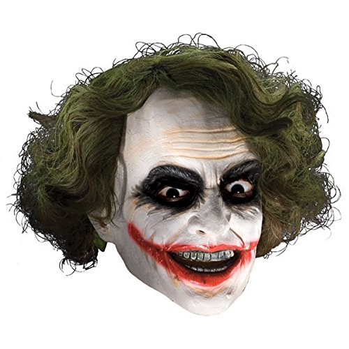 GSG Joker Mask with Hair Adult Mens The Dark Knight Halloween Costume Accessory (Zombie Cowgirl Costumes)