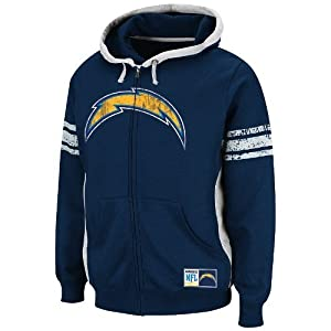 San Diego Chargers Majestic NFL Intimidating V Full Zip Hooded Sweatshirt by Unknown