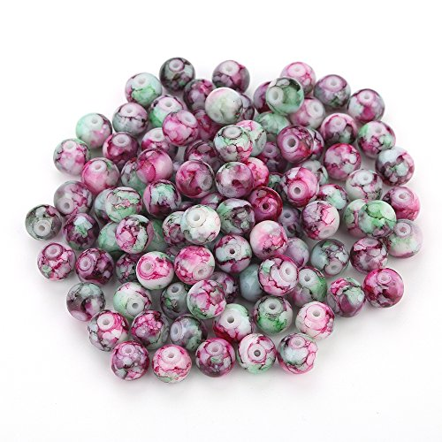 Navifoce Artistic Marble Design Various Color Round Loose Beads Lampwork Glass Bead for Jewelry Making Craft,8mm Diameter (Rose Red & Green) (Glass Bead Supplies compare prices)