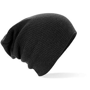 Beechfield Bonnet tombant Noir Taille unique